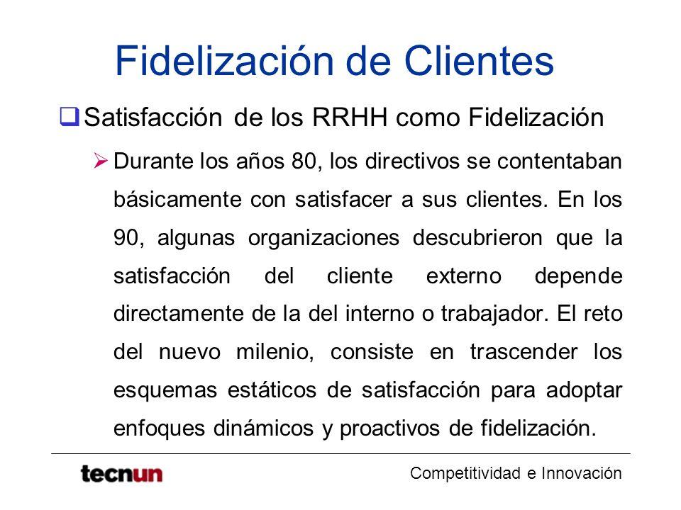 Competitividad e Innovación Fidelización de Clientes Satisfacción de los RRHH como Fidelización Durante los años 80, los directivos se contentaban bás