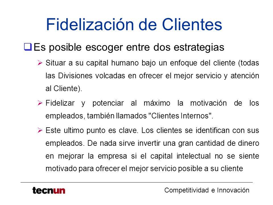 Competitividad e Innovación Fidelización de Clientes Es posible escoger entre dos estrategias Situar a su capital humano bajo un enfoque del cliente (