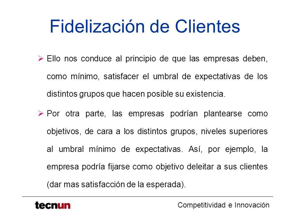 Competitividad e Innovación Fidelización de Clientes Ello nos conduce al principio de que las empresas deben, como mínimo, satisfacer el umbral de exp