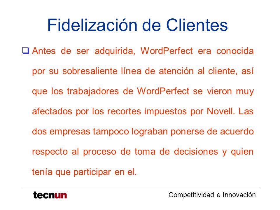 Competitividad e Innovación Fidelización de Clientes Antes de ser adquirida, WordPerfect era conocida por su sobresaliente línea de atención al client
