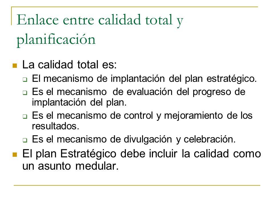 Enlace entre calidad total y planificación La calidad total es: El mecanismo de implantación del plan estratégico.