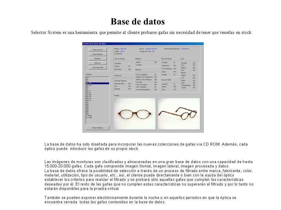Base de datos Selector System es una herramienta que permite al cliente probarse gafas sin necesidad de tener que tenerlas en stock