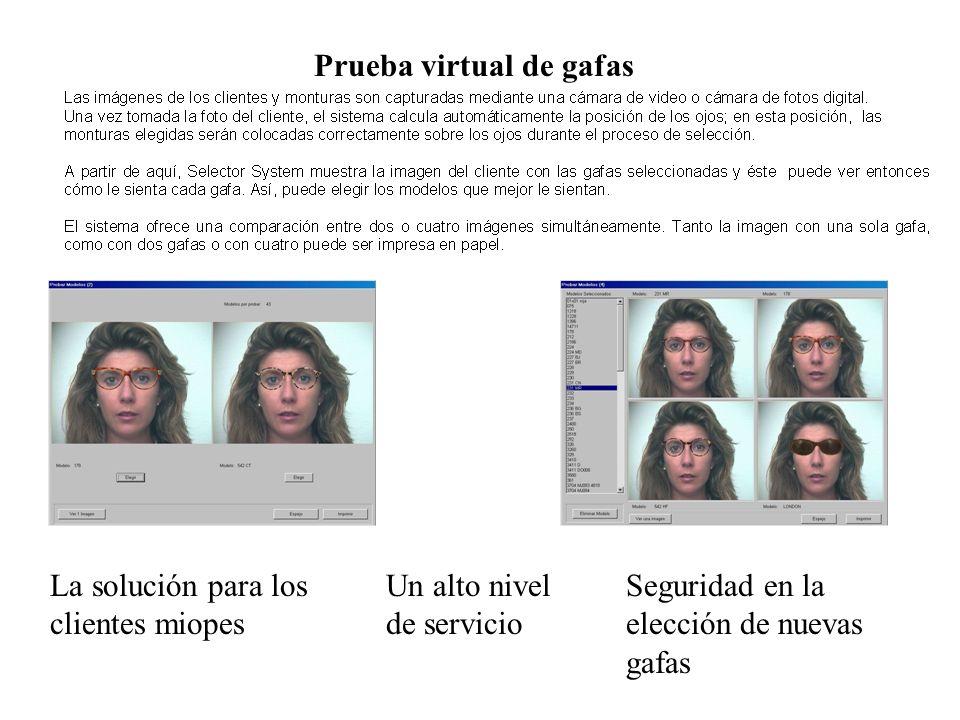Prueba virtual de gafas Un alto nivel de servicio Seguridad en la elección de nuevas gafas La solución para los clientes miopes