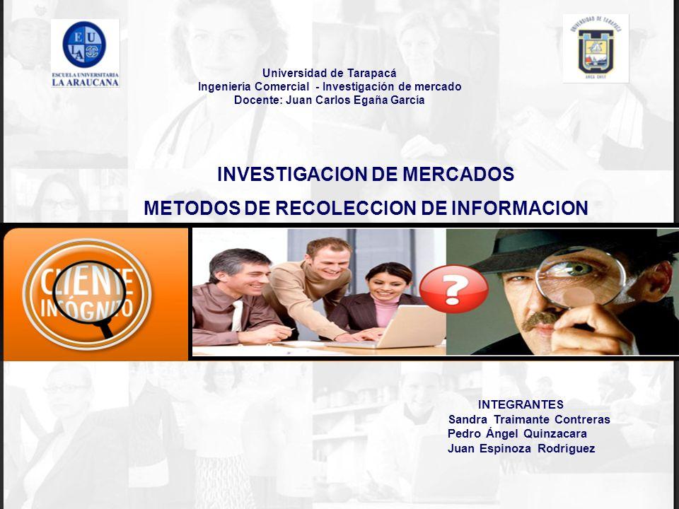 INVESTIGACION DE MERCADOS METODOS DE RECOLECCION DE INFORMACION Universidad de Tarapacá Ingeniería Comercial - Investigación de mercado Docente: Juan