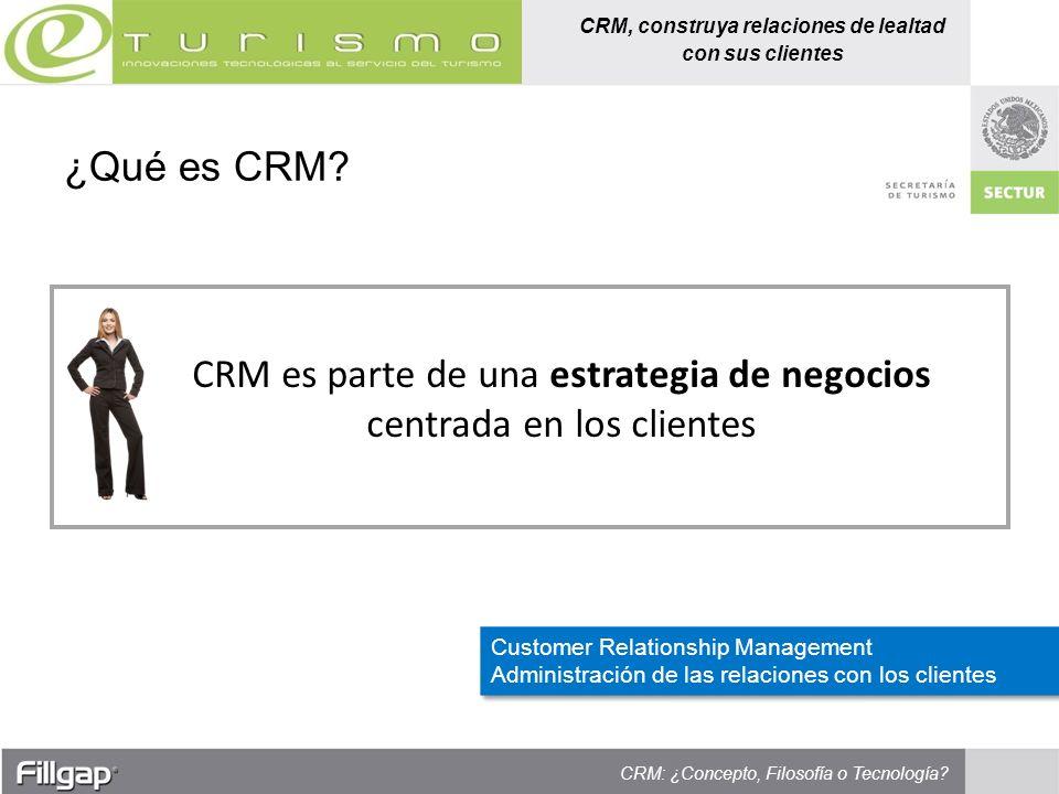 CRM, construya relaciones de lealtad con sus clientes CRM: ¿Concepto, Filosofía o Tecnología? ¿Qué es CRM? Customer Relationship Management Administra