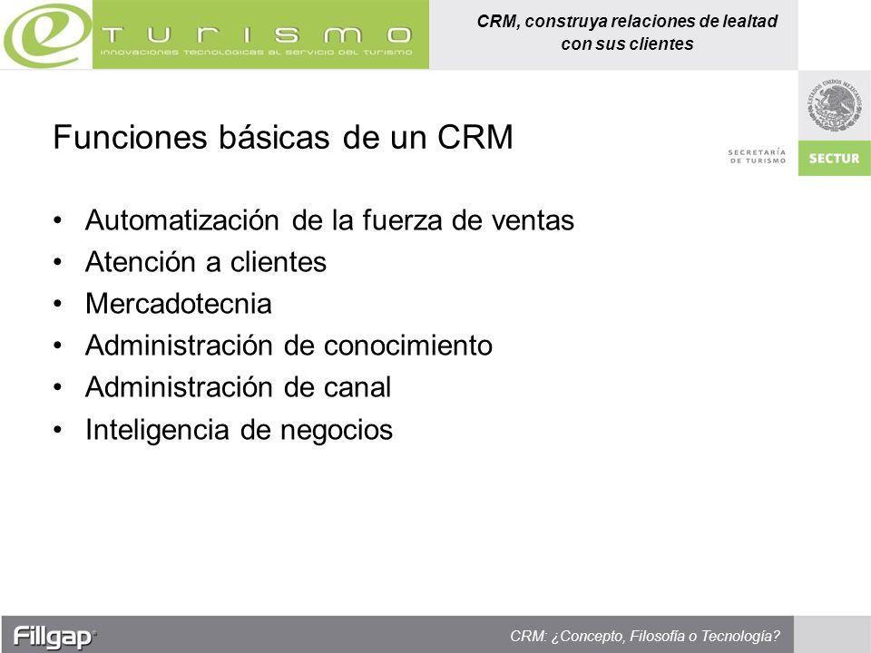 CRM, construya relaciones de lealtad con sus clientes CRM: ¿Concepto, Filosofía o Tecnología? Automatización de la fuerza de ventas Atención a cliente