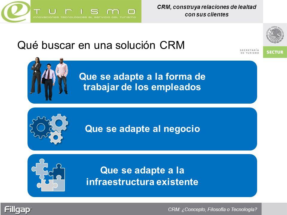 CRM, construya relaciones de lealtad con sus clientes CRM: ¿Concepto, Filosofía o Tecnología? Que se adapte a la forma de trabajar de los empleados Qu
