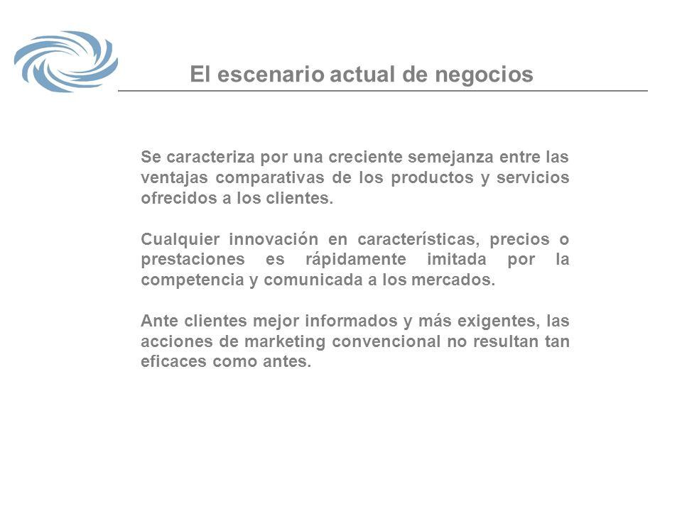 El escenario actual de negocios Se caracteriza por una creciente semejanza entre las ventajas comparativas de los productos y servicios ofrecidos a lo
