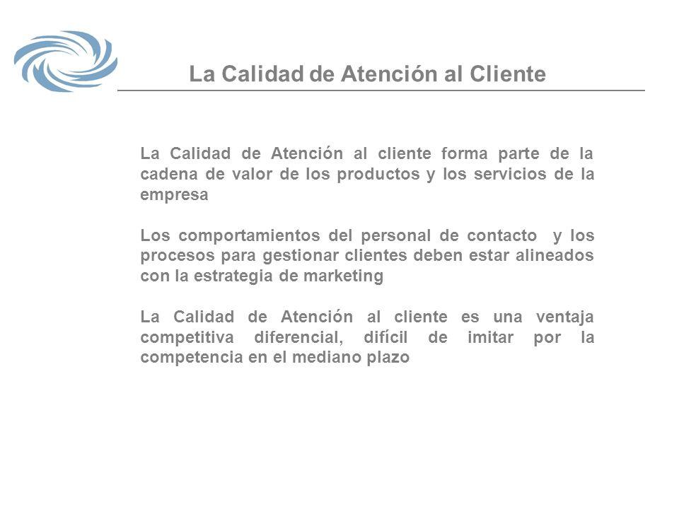La Calidad de Atención al Cliente La Calidad de Atención al cliente forma parte de la cadena de valor de los productos y los servicios de la empresa L