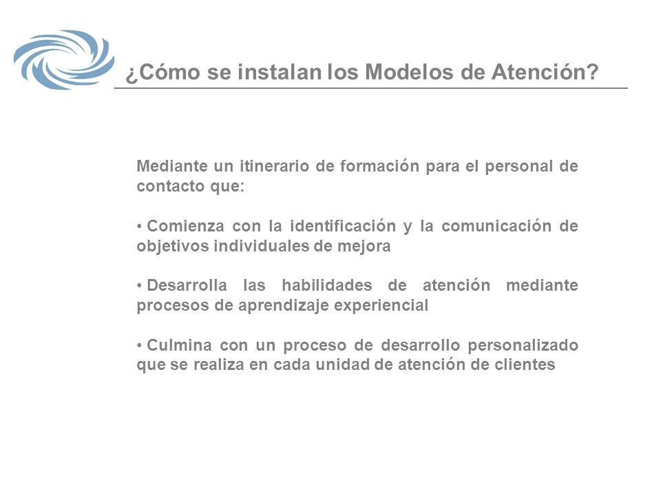 ¿Cómo se instalan los Modelos de Atención? Mediante un itinerario de formación para el personal de contacto que: Comienza con la identificación y la c