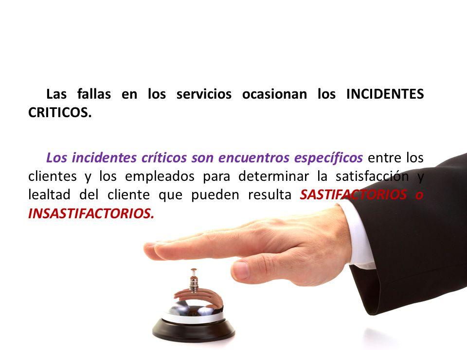 Las fallas en los servicios ocasionan los INCIDENTES CRITICOS. Los incidentes críticos son encuentros específicos entre los clientes y los empleados p