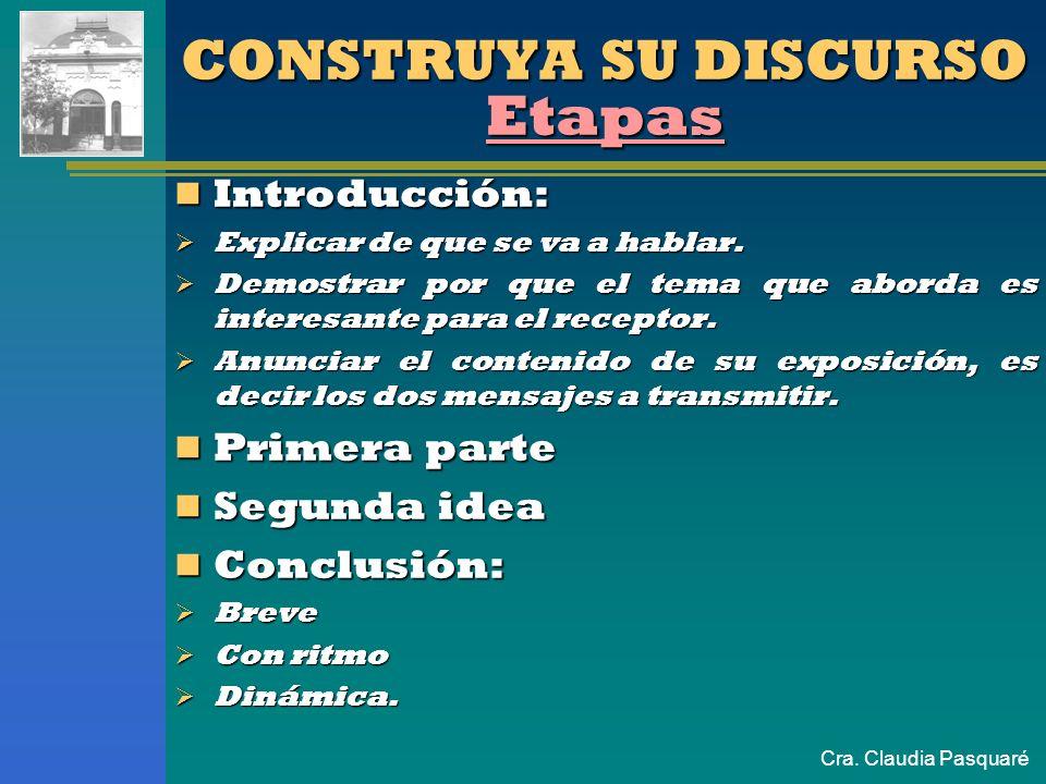 Cra. Claudia Pasquaré CONSTRUYA SU DISCURSO Como? Determine los materiales a usar, es decir los mensajes a transmitir. Determine los materiales a usar