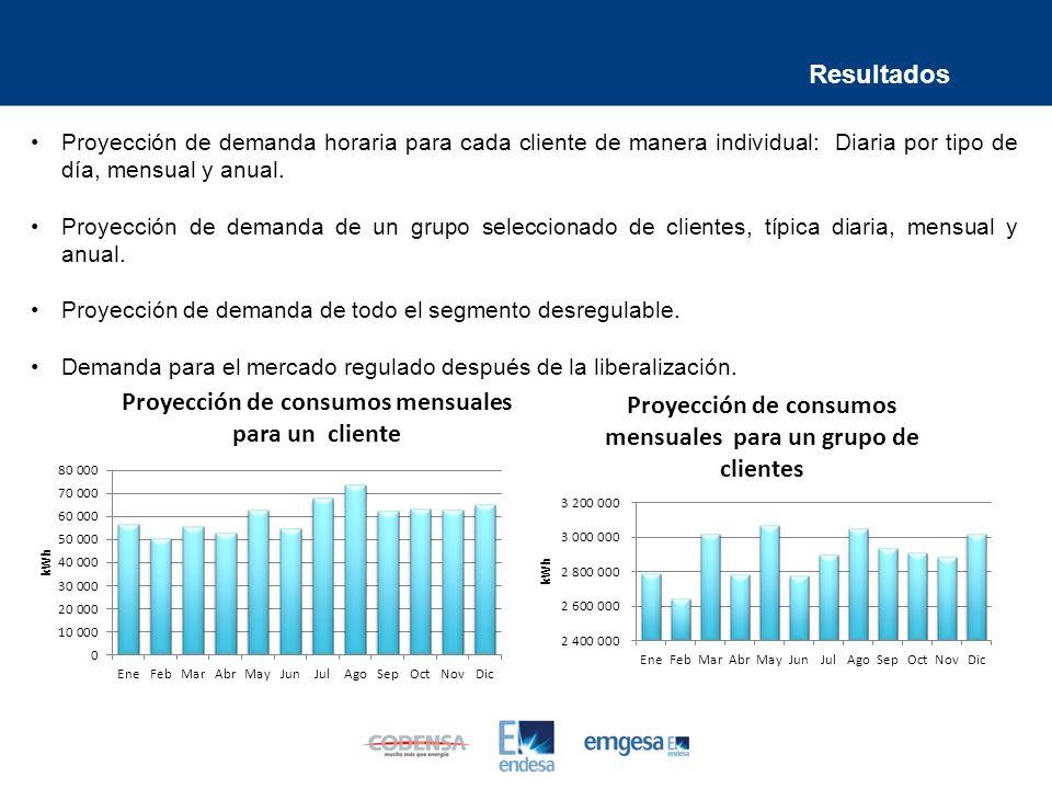 Proyección de demanda horaria para cada cliente de manera individual: Diaria por tipo de día, mensual y anual.