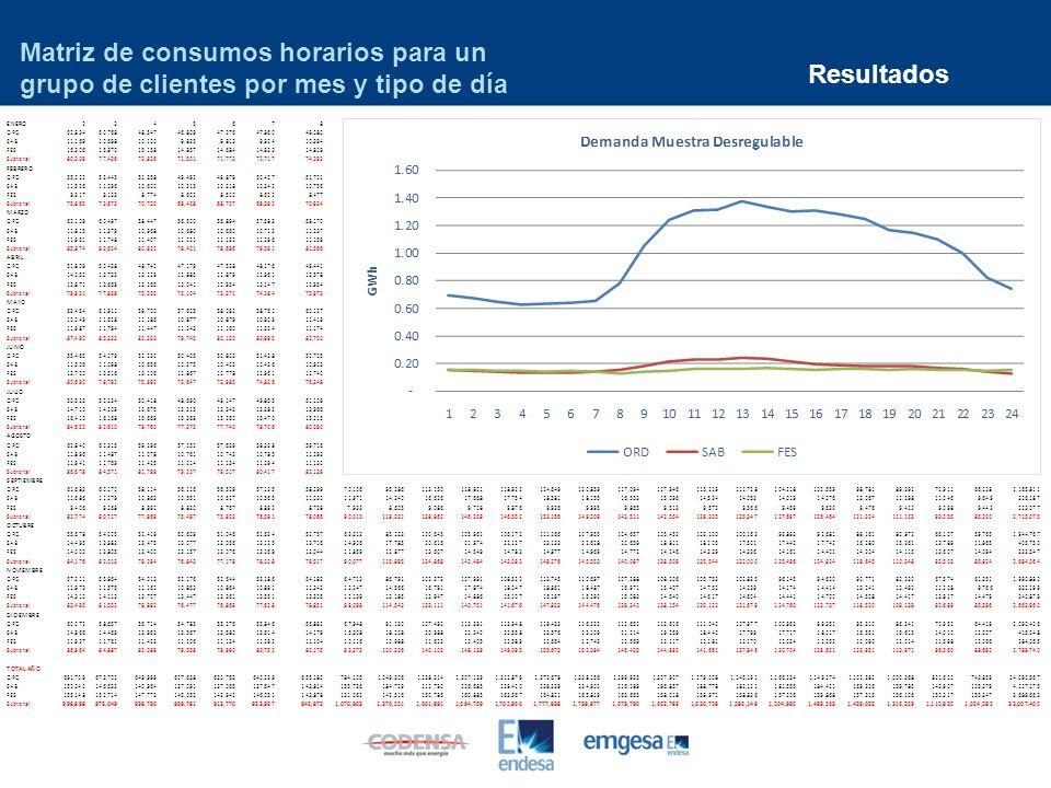 Resultados Matriz de consumos horarios para un grupo de clientes por mes y tipo de día