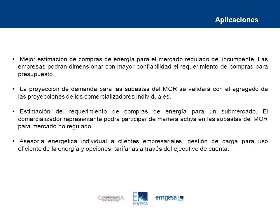 Mejor estimación de compras de energía para el mercado regulado del incumbente.