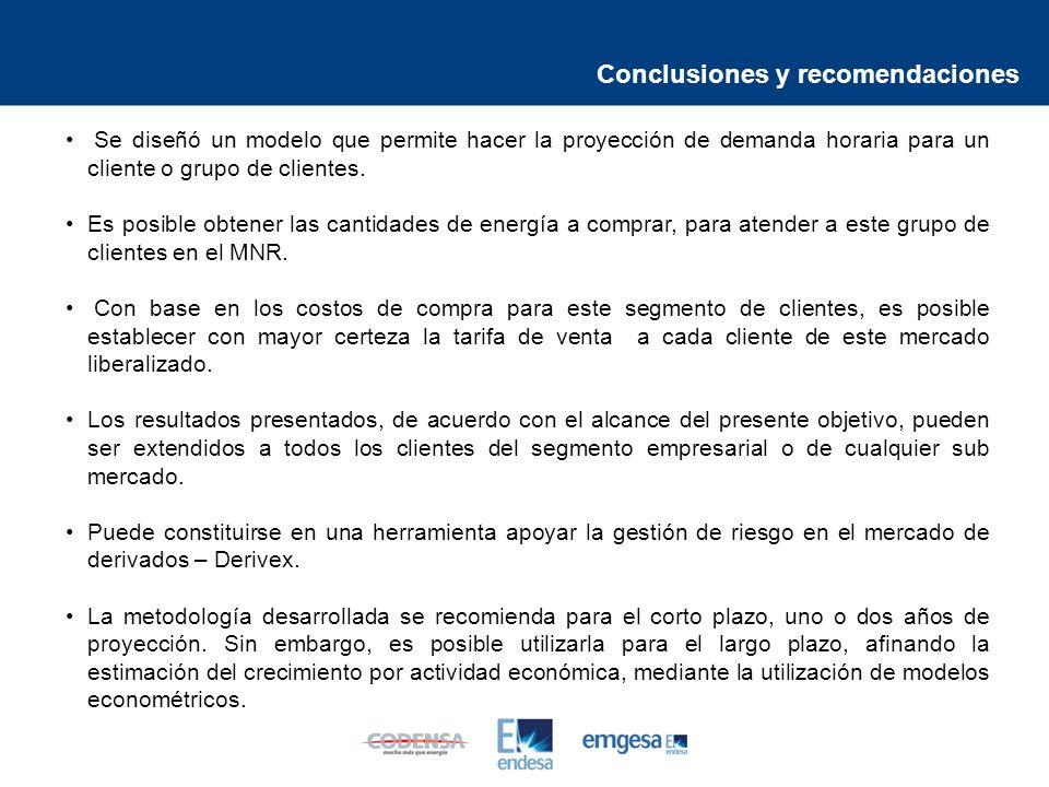 Conclusiones y recomendaciones Se diseñó un modelo que permite hacer la proyección de demanda horaria para un cliente o grupo de clientes.