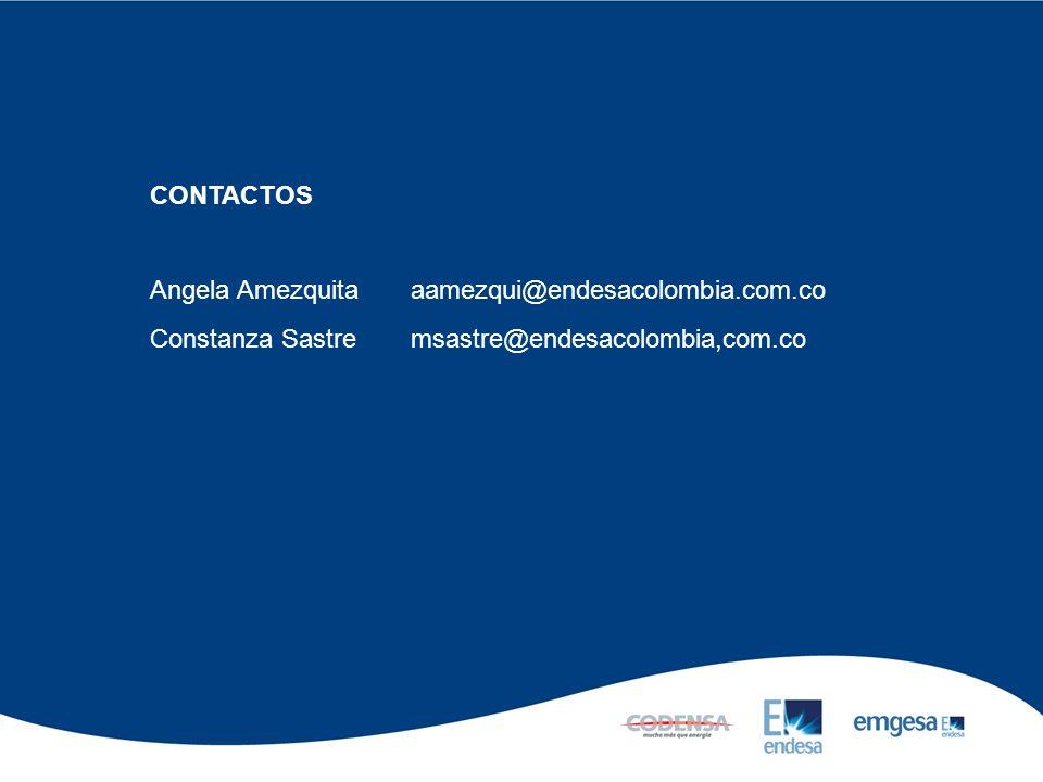 CONTACTOS Angela Amezquitaaamezqui@endesacolombia.com.co Constanza Sastre msastre@endesacolombia,com.co