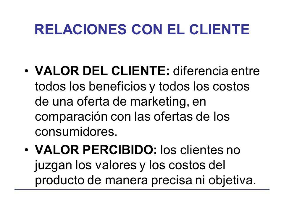 RELACIONES CON EL CLIENTE VALOR DEL CLIENTE: diferencia entre todos los beneficios y todos los costos de una oferta de marketing, en comparación con las ofertas de los consumidores.