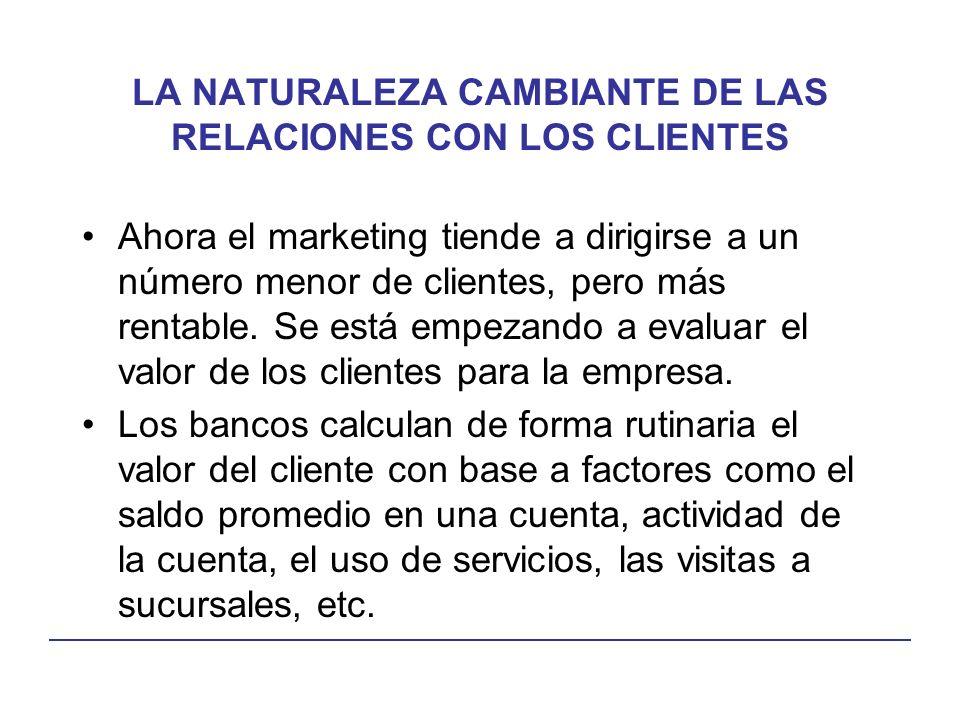 LA NATURALEZA CAMBIANTE DE LAS RELACIONES CON LOS CLIENTES Ahora el marketing tiende a dirigirse a un número menor de clientes, pero más rentable.