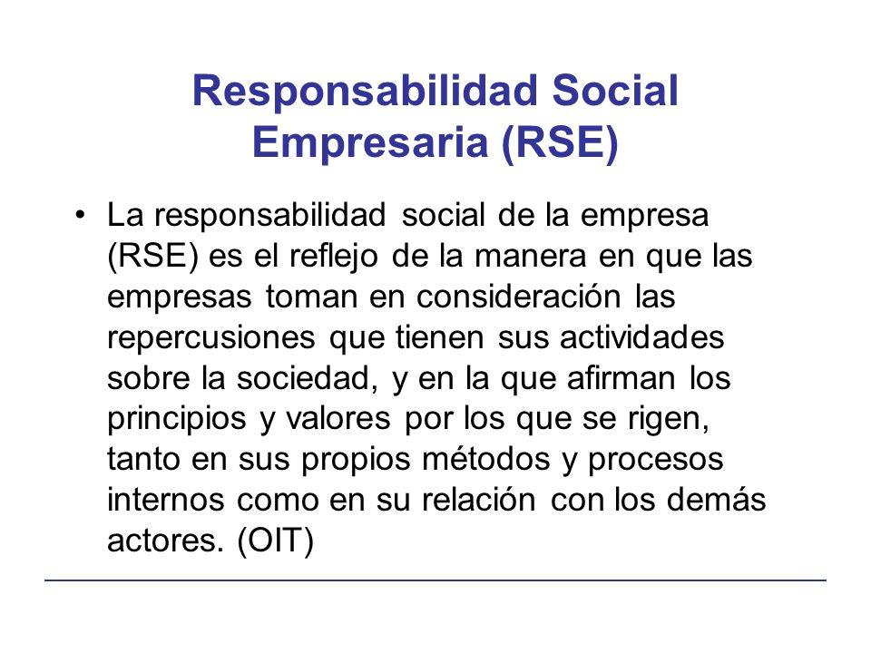Responsabilidad Social Empresaria (RSE) La responsabilidad social de la empresa (RSE) es el reflejo de la manera en que las empresas toman en consideración las repercusiones que tienen sus actividades sobre la sociedad, y en la que afirman los principios y valores por los que se rigen, tanto en sus propios métodos y procesos internos como en su relación con los demás actores.