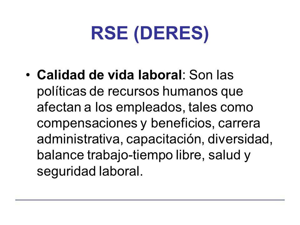 RSE (DERES) Calidad de vida laboral: Son las políticas de recursos humanos que afectan a los empleados, tales como compensaciones y beneficios, carrera administrativa, capacitación, diversidad, balance trabajo-tiempo libre, salud y seguridad laboral.