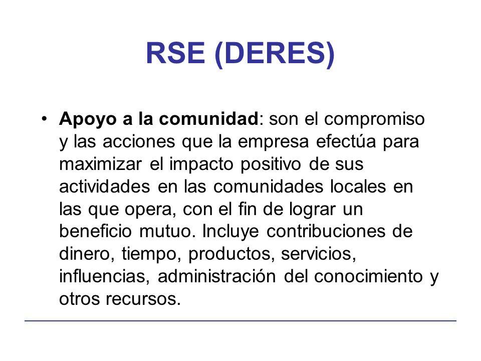 RSE (DERES) Apoyo a la comunidad: son el compromiso y las acciones que la empresa efectúa para maximizar el impacto positivo de sus actividades en las comunidades locales en las que opera, con el fin de lograr un beneficio mutuo.