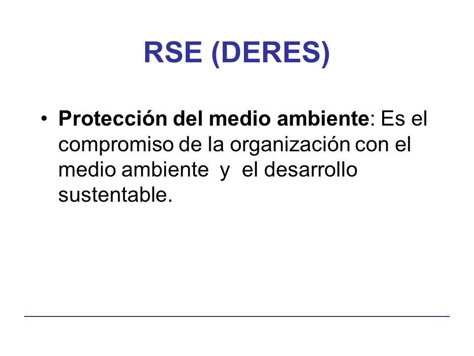 RSE (DERES) Protección del medio ambiente: Es el compromiso de la organización con el medio ambiente y el desarrollo sustentable.