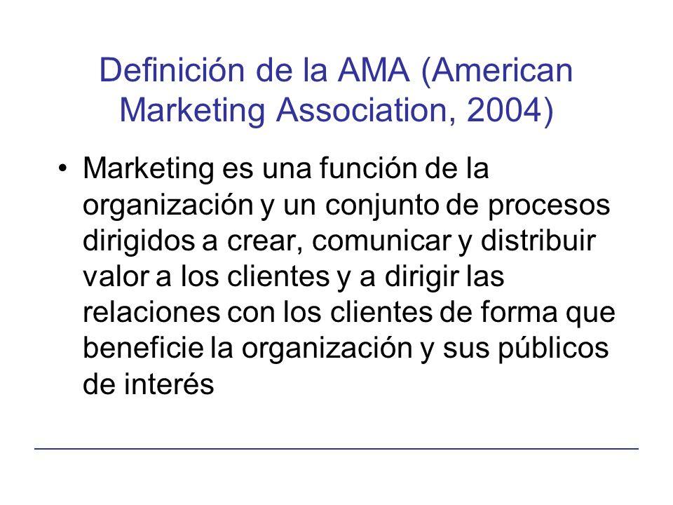 Definición de la AMA (American Marketing Association, 2004) Marketing es una función de la organización y un conjunto de procesos dirigidos a crear, comunicar y distribuir valor a los clientes y a dirigir las relaciones con los clientes de forma que beneficie la organización y sus públicos de interés