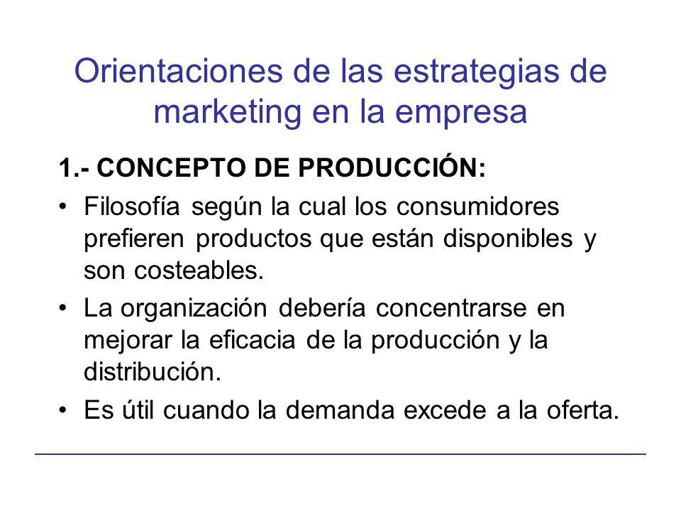 Orientaciones de las estrategias de marketing en la empresa 1.- CONCEPTO DE PRODUCCIÓN: Filosofía según la cual los consumidores prefieren productos que están disponibles y son costeables.