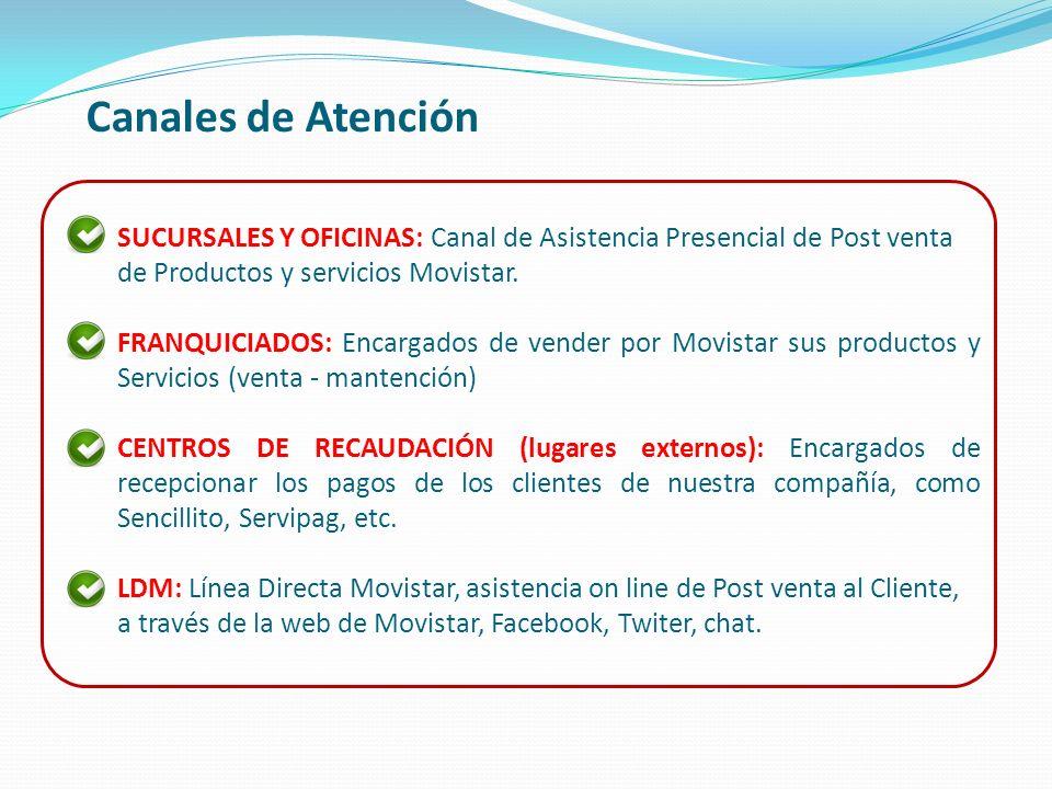 Canales de Atención SUCURSALES Y OFICINAS: Canal de Asistencia Presencial de Post venta de Productos y servicios Movistar. FRANQUICIADOS: Encargados d