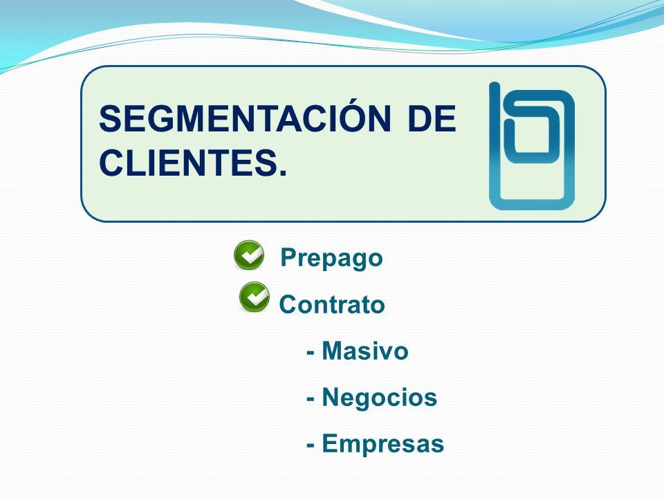 SEGMENTACIÓN DE CLIENTES. Prepago Contrato - Masivo - Negocios - Empresas