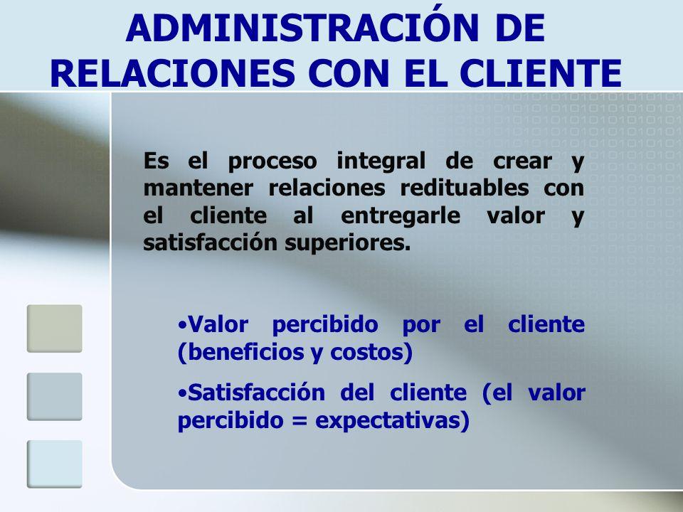 ADMINISTRACIÓN DE RELACIONES CON EL CLIENTE Es el proceso integral de crear y mantener relaciones redituables con el cliente al entregarle valor y sat
