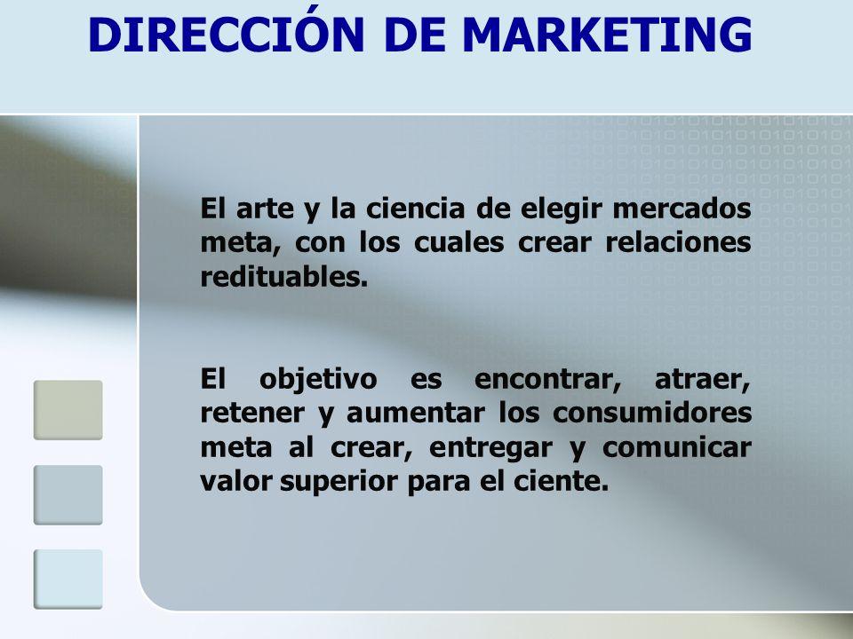 DIRECCIÓN DE MARKETING El arte y la ciencia de elegir mercados meta, con los cuales crear relaciones redituables. El objetivo es encontrar, atraer, re