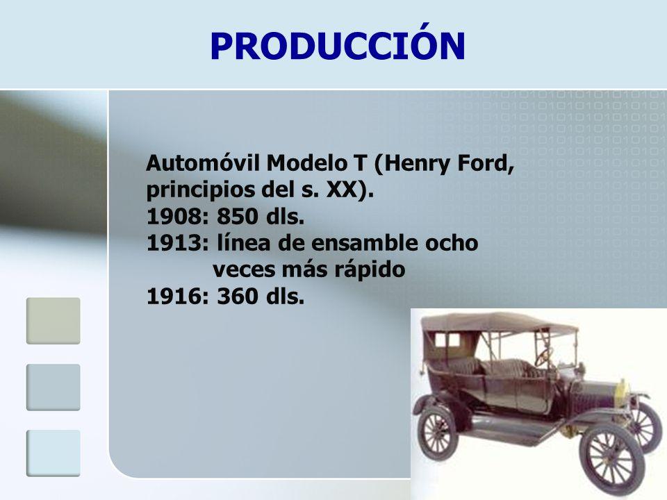 PRODUCCIÓN Automóvil Modelo T (Henry Ford, principios del s. XX). 1908: 850 dls. 1913: línea de ensamble ocho veces más rápido 1916: 360 dls.