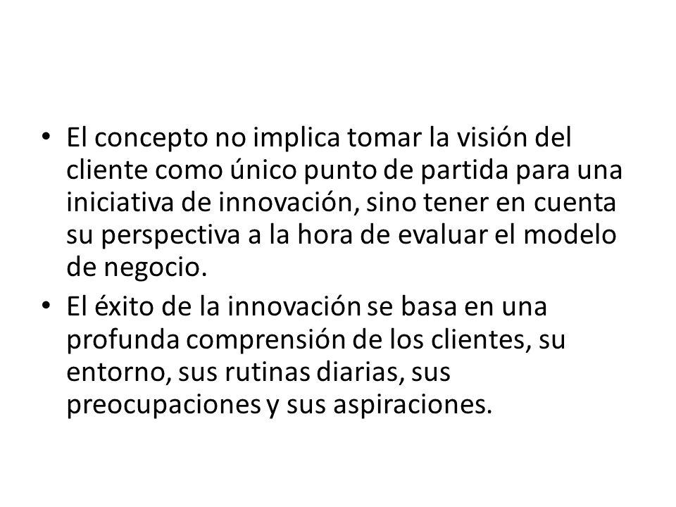 El concepto no implica tomar la visión del cliente como único punto de partida para una iniciativa de innovación, sino tener en cuenta su perspectiva