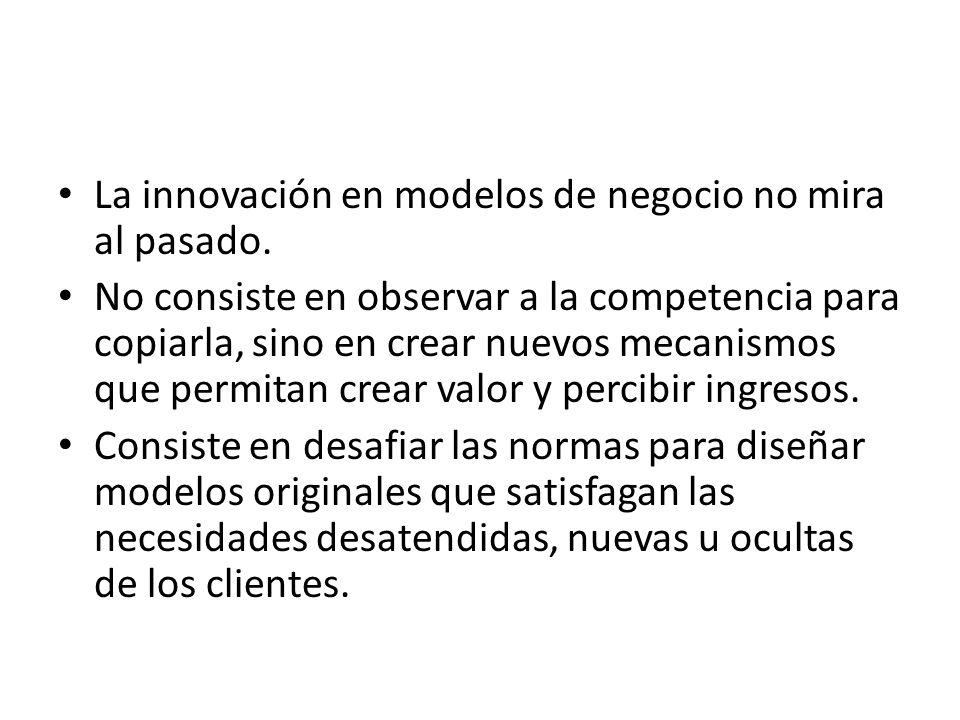 La innovación en modelos de negocio no mira al pasado. No consiste en observar a la competencia para copiarla, sino en crear nuevos mecanismos que per