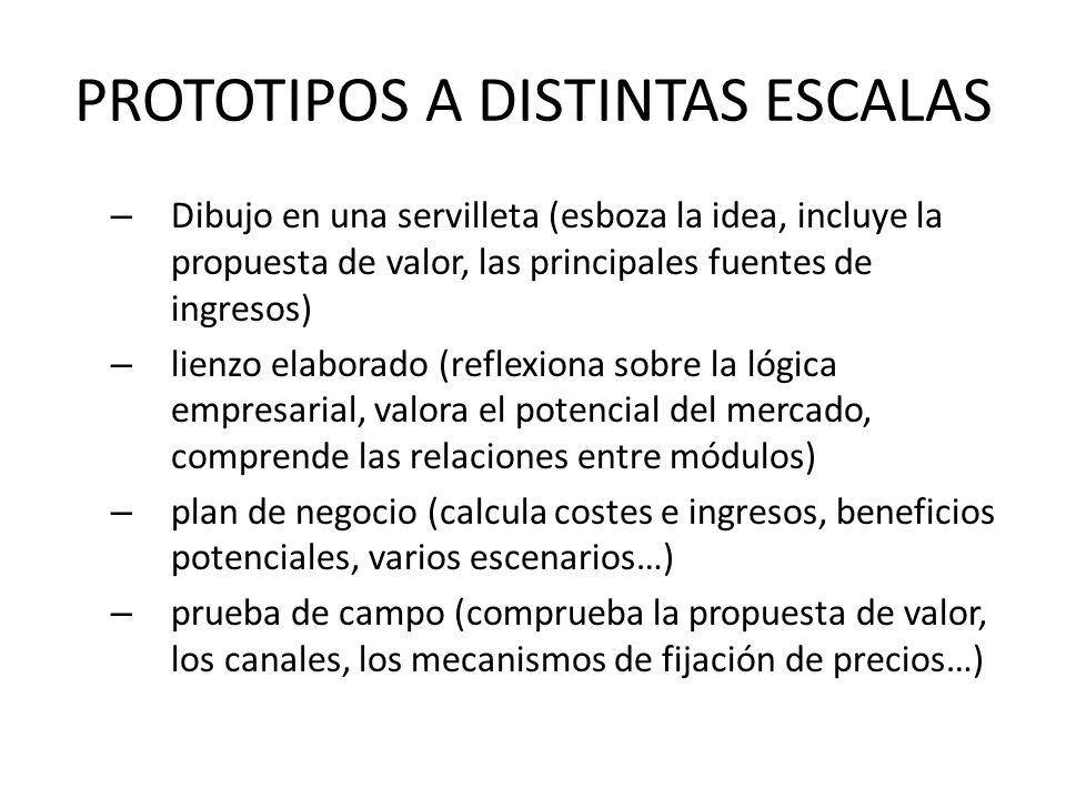 PROTOTIPOS A DISTINTAS ESCALAS – Dibujo en una servilleta (esboza la idea, incluye la propuesta de valor, las principales fuentes de ingresos) – lienz