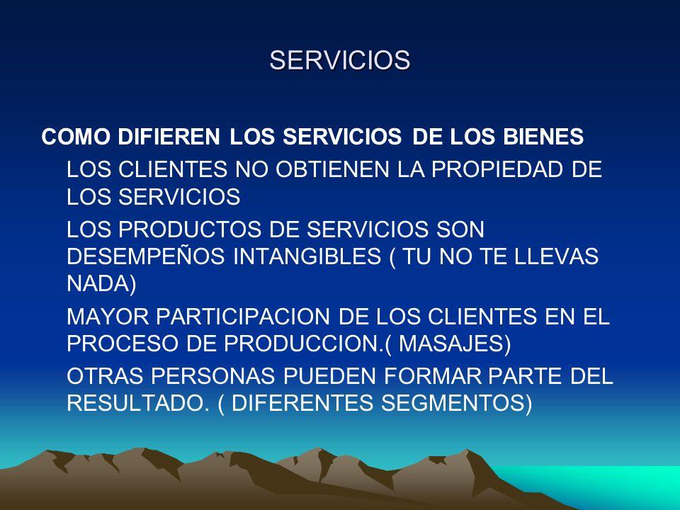 SERVICIOS COMO DIFIEREN LOS SERVICIOS DE LOS BIENES LOS CLIENTES NO OBTIENEN LA PROPIEDAD DE LOS SERVICIOS LOS PRODUCTOS DE SERVICIOS SON DESEMPEÑOS I