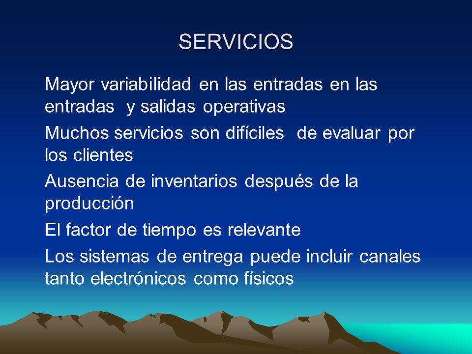 SERVICIOS Mayor variabilidad en las entradas en las entradas y salidas operativas Muchos servicios son difíciles de evaluar por los clientes Ausencia