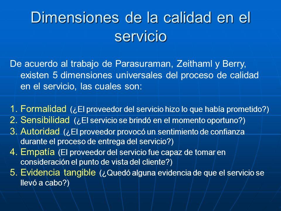 Dimensiones de la calidad en el servicio De acuerdo al trabajo de Parasuraman, Zeithaml y Berry, existen 5 dimensiones universales del proceso de cali
