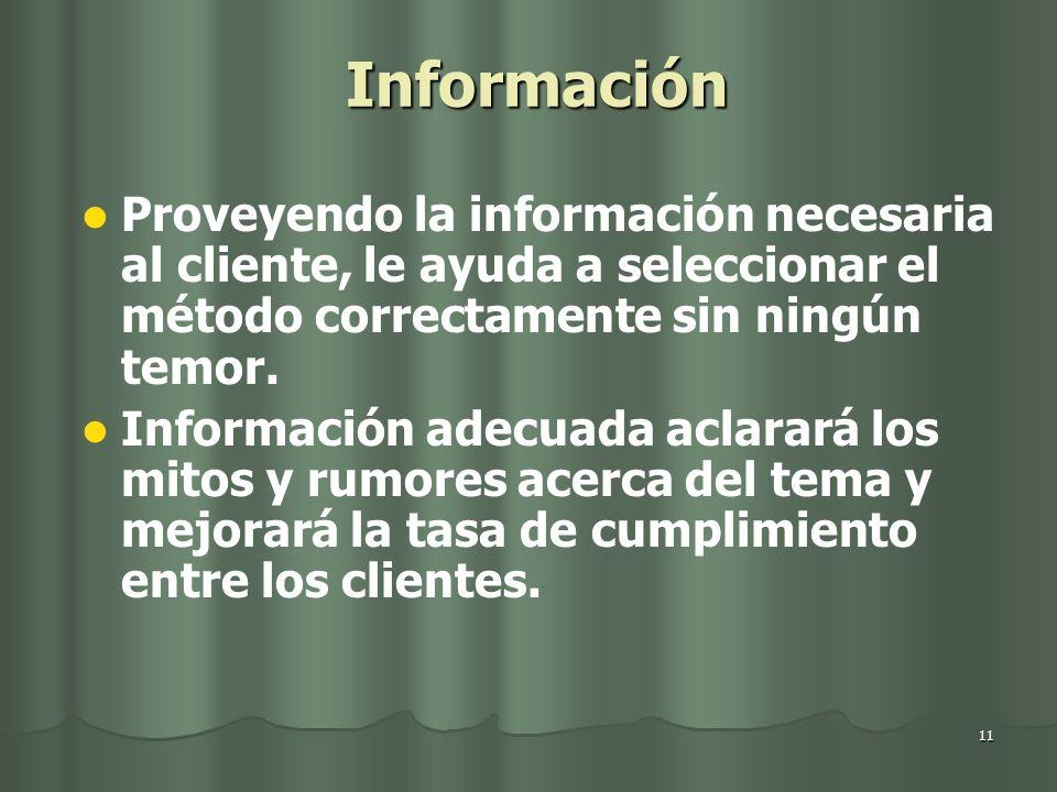 11 Información Proveyendo la información necesaria al cliente, le ayuda a seleccionar el método correctamente sin ningún temor. Información adecuada a