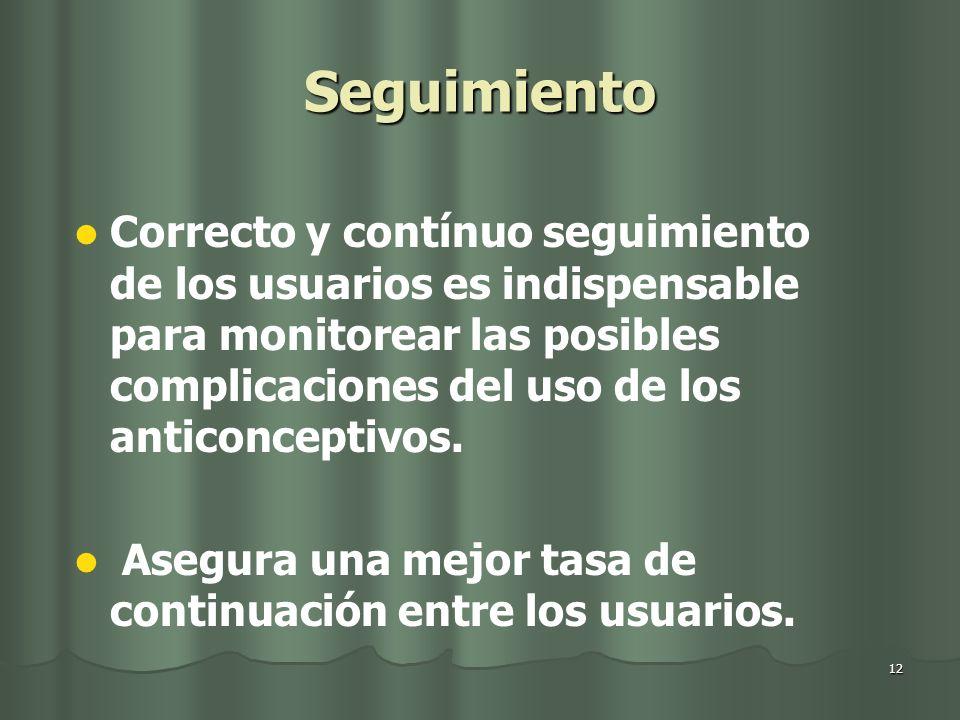 12 Seguimiento Correcto y contínuo seguimiento de los usuarios es indispensable para monitorear las posibles complicaciones del uso de los anticonceptivos.