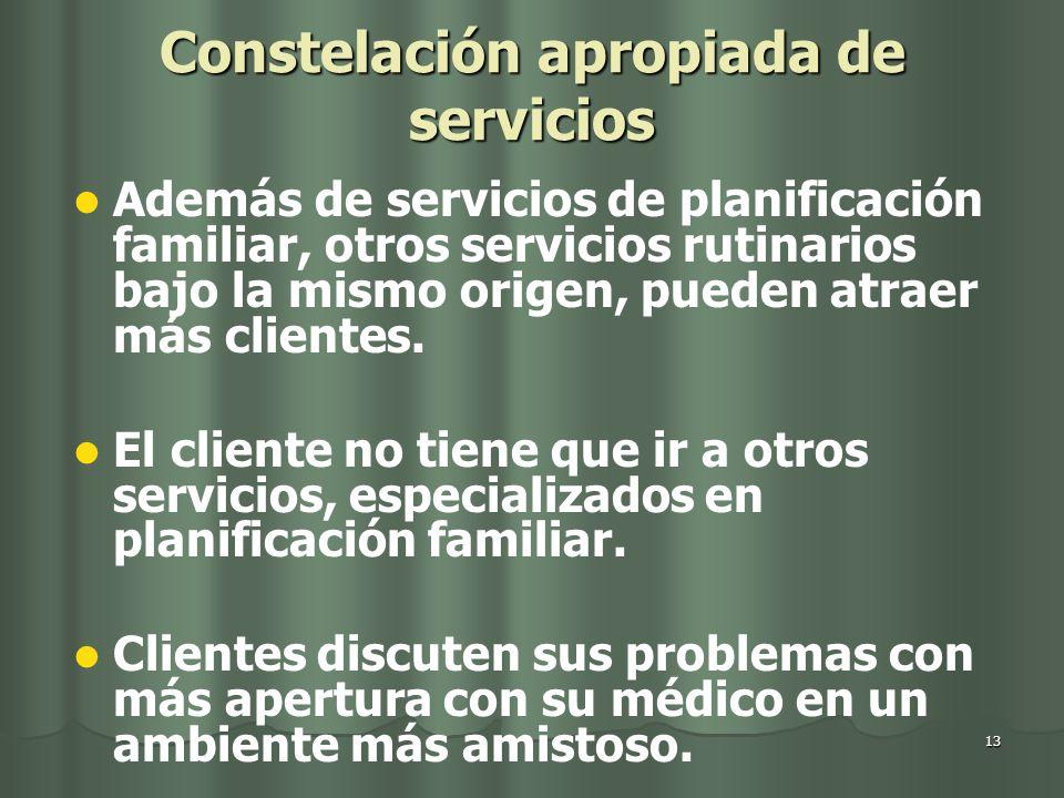 13 Constelación apropiada de servicios Además de servicios de planificación familiar, otros servicios rutinarios bajo la mismo origen, pueden atraer más clientes.