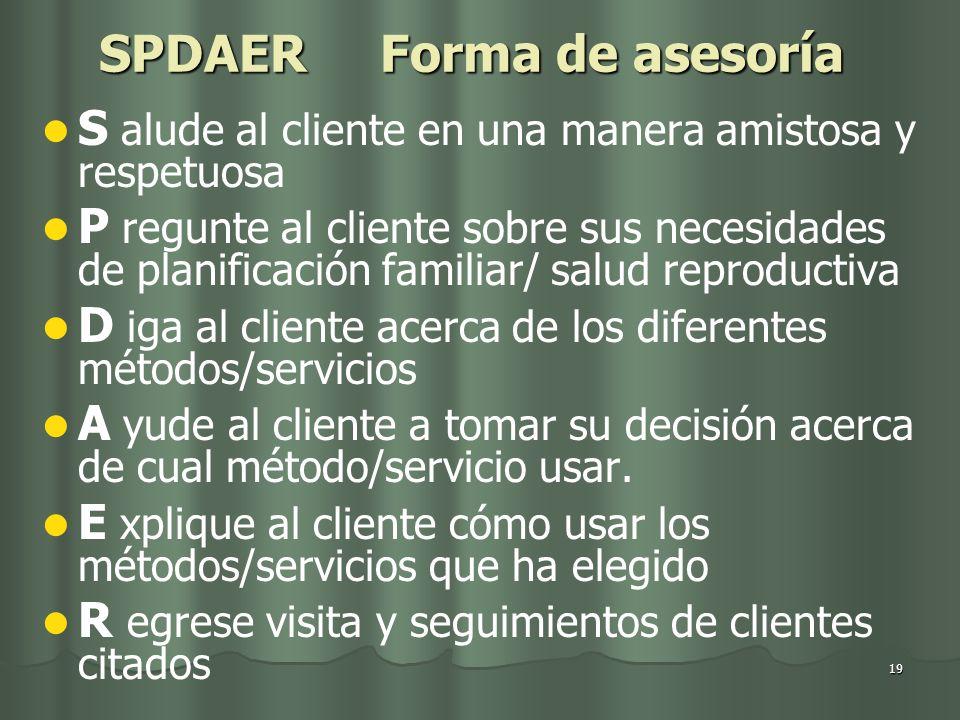 19 SPDAER Forma de asesoría S alude al cliente en una manera amistosa y respetuosa P regunte al cliente sobre sus necesidades de planificación familia