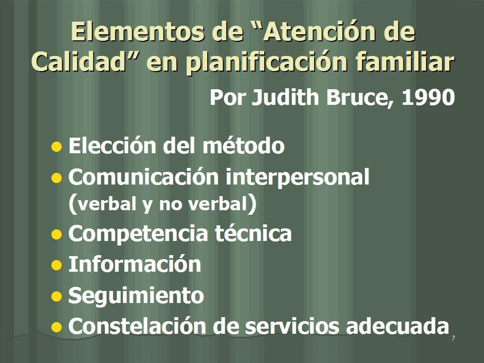 7 Elementos de Atención de Calidad en planificación familiar Elección del método Comunicación interpersonal ( verbal y no verbal ) Competencia técnica Información Seguimiento Constelación de servicios adecuada Por Judith Bruce, 1990