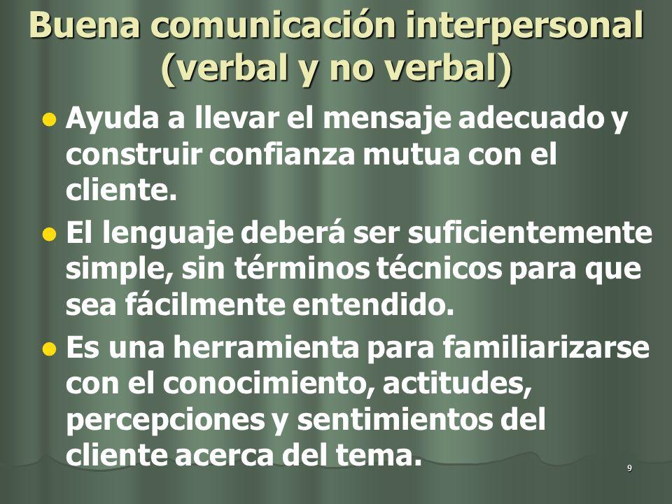 9 Buena comunicación interpersonal (verbal y no verbal) Ayuda a llevar el mensaje adecuado y construir confianza mutua con el cliente. El lenguaje deb