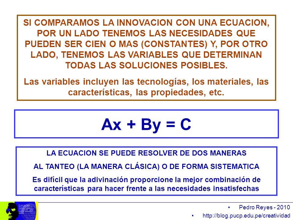 Ax + By = C Pedro Reyes - 2010 http://blog.pucp.edu.pe/creatividad SI COMPARAMOS LA INNOVACION CON UNA ECUACION, POR UN LADO TENEMOS LAS NECESIDADES Q