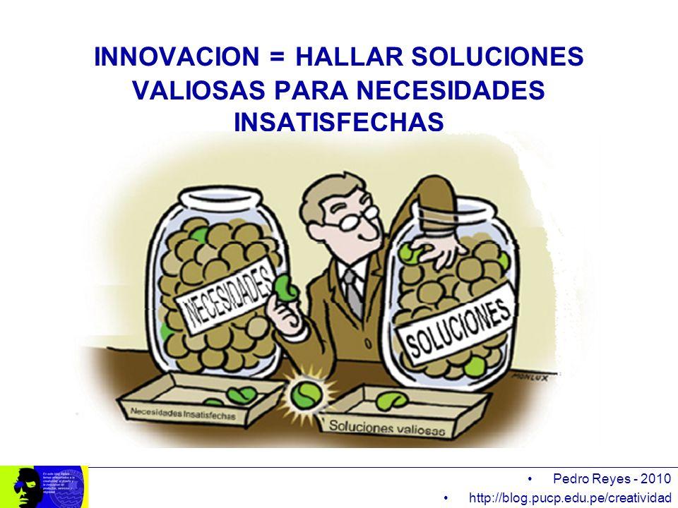 INNOVACION = HALLAR SOLUCIONES VALIOSAS PARA NECESIDADES INSATISFECHAS Pedro Reyes - 2010 http://blog.pucp.edu.pe/creatividad