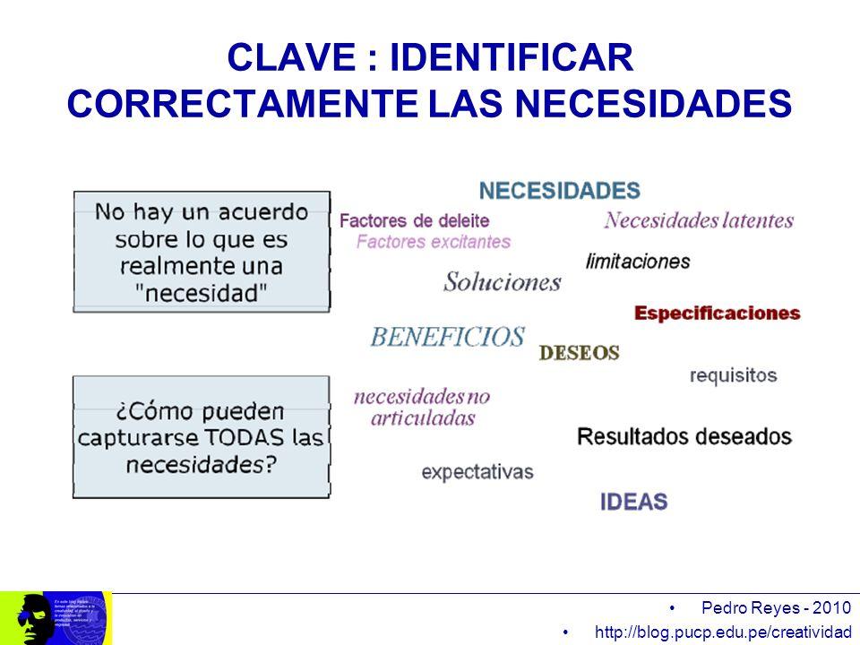 CLAVE : IDENTIFICAR CORRECTAMENTE LAS NECESIDADES Pedro Reyes - 2010 http://blog.pucp.edu.pe/creatividad