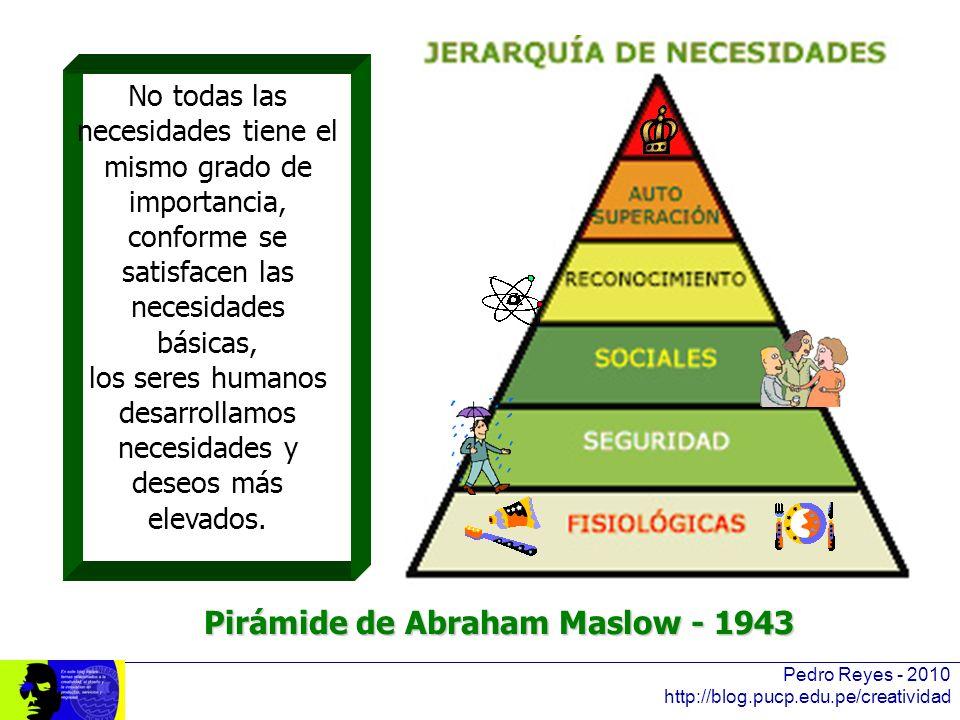 Pedro Reyes - 2010 http://blog.pucp.edu.pe/creatividad No todas las necesidades tiene el mismo grado de importancia, conforme se satisfacen las necesi